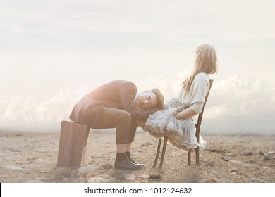 romantic scene of a couple having in love gestures of affection in a surreal atmosphere