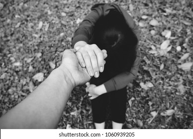 Romantic scene love couple give a helping hand,Conceptal love promise.