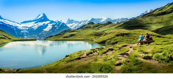 Romantic scene, reflection of the famous Matterhorn in lake, Zermatt, Switzerland.