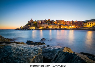 Romantic scenery of Genova at sunset, Italy august 2017