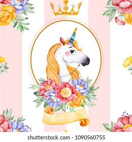 Romantic seamless fairy tale texture with bouquets, flowers,ribbon,crown princess,cute unicorn.Lovely blush pink stripe background.Perfect for wedding,Birthday,print,wallpaper,cover design,packaging