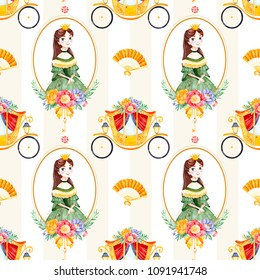 Romantic seamless fairy tale texture with bouquets,carriage, flower,princess,hand fan,gemstone.Lovely blush yellow stripe background.Perfect for wedding,Birthday,print,wallpaper,cover design,packaging