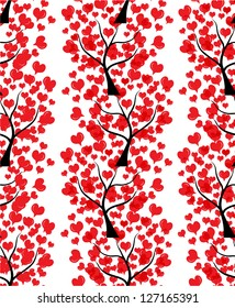 romantic seamless pattern with love trees for valentine's day