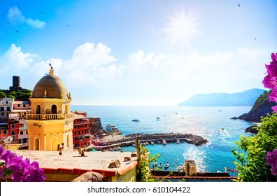 Romantic Seascape in mediterranean Italy old town;  Five lands, Vernazza, Cinque Terre, Liguria Italy Europe.