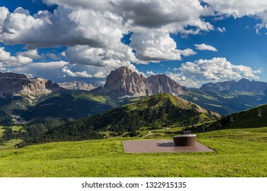 Romantic seats to see breathtaking view of Dolomites landscape at Secada peak, Italy