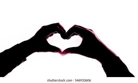 Romantic silhouette sign hand shape heart