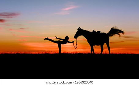 Romantic silhouette of slim toned girl and horse on bright blue sunset. Beautiful woman practicing yoga pose outdoor. Fitness, wellness and horsemanship concept on multi-colored sky background