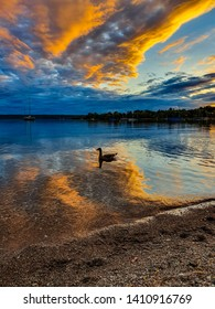 Romantic sky in Herrsching am Ammersee in Germany