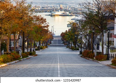 Romantic slope in Hakodate city, Hokkaido, Japan. The famous street with a nice city view background.