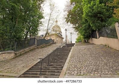 Romantic staircase to the Sacred Heart of Paris, Montmartre (Paris France)