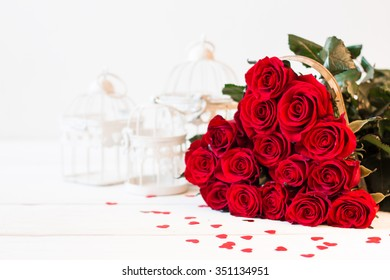 Romantic still life with beautiful red roses. Valentine's day concept.Soft focus