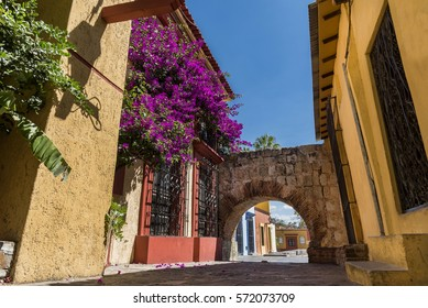 romantic street in the historic center with flowers of Oaxaca,Mexico, blue sky