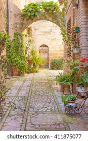 Romantic street with stone arch decorated with plants (Spello, Umbria, Italy.)