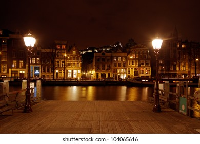 Romantic street view in Amsterdam the Netherlands at night