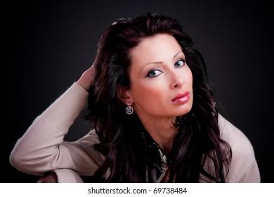Romantic style photo of a beautiful brunette