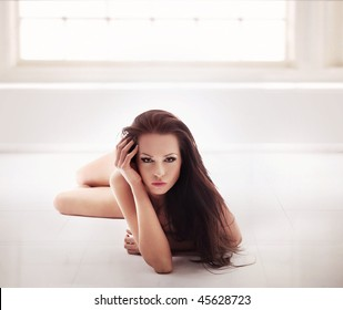 Romantic style shot of a beautiful young brunette