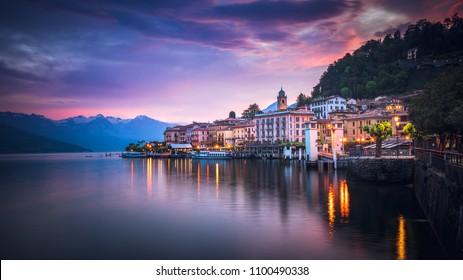 Romantic sunrise over Bellagio, Lake Como,  Lombardy, Italy
