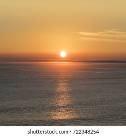 romantic sunset at the atlantic ocean seen from  Gay Head cliffs at the westernmost point of Martha's Vineyard in Aquinnah, MA, USA