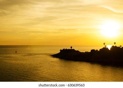 Romantic sunset at Laem Phromthep view point, Phuket, Thailand