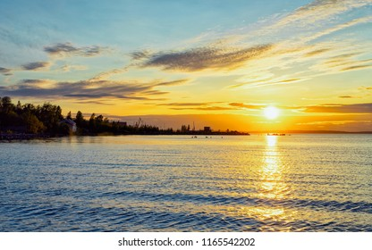 Romantic sunset on Onega Lake and the Nature of Karelia, Kizhi, Russia