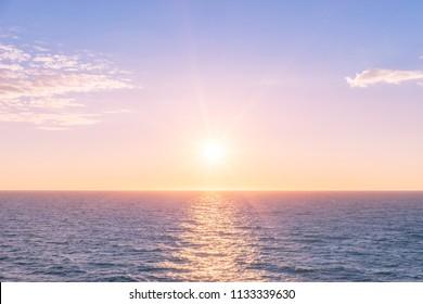 Romantic sunset on the sea