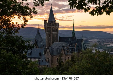 Romantic sunset in Wernigerode with the structural landmark of the castle