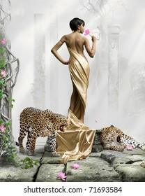 romantic surreal art photomanipulation. black girl in golden dress with cats against ancient buildings. see more on my page