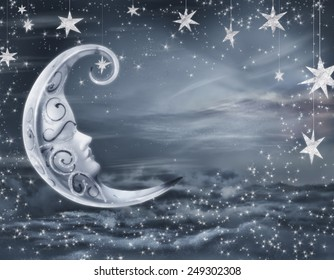 romantic surreal artwork. crescent moon against night background with stars. see more on my page