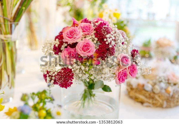 Romantic Table Decoration Spring Flowers Stock Photo Edit Now
