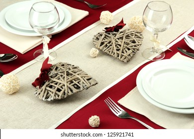 romantic table setting, close up