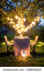 Romantic table for two in the summer evening