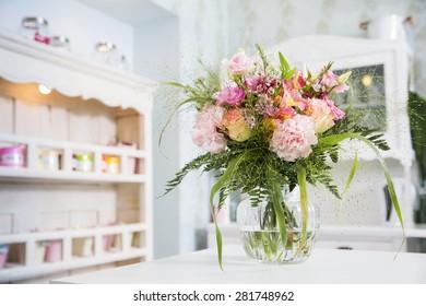 Romantic tender boquet waiting in the vase
