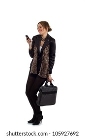 Romantic texting - Young businesswoman in a black suit with a laptop carrying bag, gets cheered up after reading a text message on her phone.