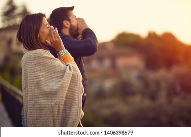 Romantic travel – Happy man and woman enjoying in vacation