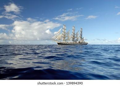Romantic Travel on a sailing ship