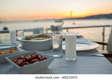 Romantic Turkish  Traditional Dinning Table with Special Alcohol Drink Raki, and Beautiful Istanbul Bosphorus View