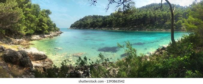 romantic turquoise bay on Mljet island Croatia, Adriatic Sea