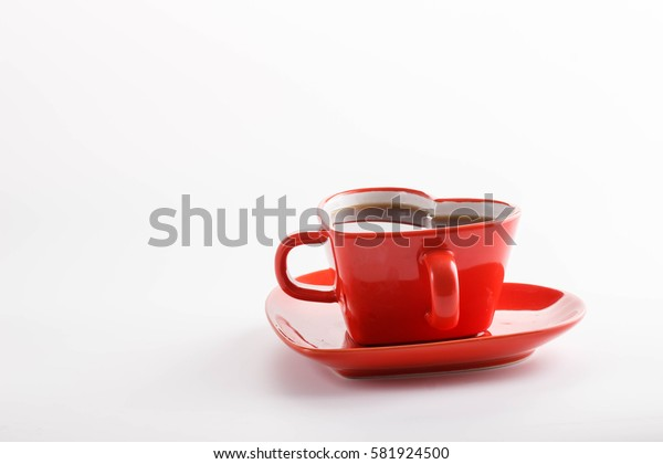 romantic Valentine's Day Breakfast , , black coffee with sweet candy on a white background