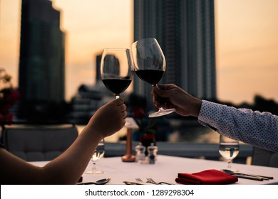 Romantic Valentines Day Dinner on Terrace at Sunset