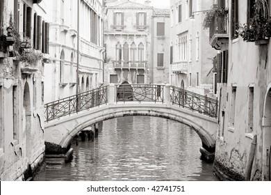 Romantic Venetian bridge in black and white