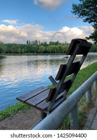 Romantic view, bench in the public park of Izmailovo, Moscow, Russia