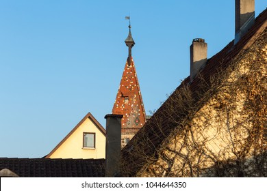 romantic view at church roof in a historical city schwaebisch gmuend in south germany
