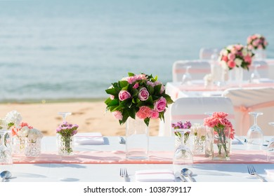 Romantic wedding ceremony on the beach