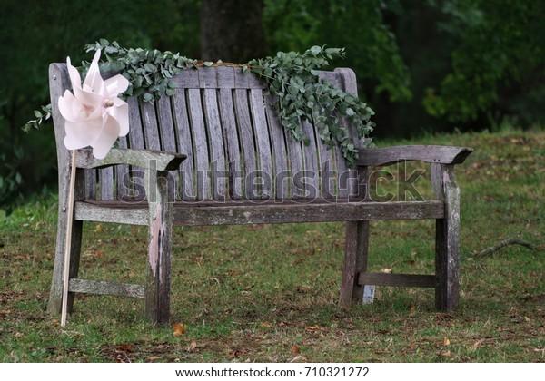 Magnificent Romantic Wedding Decor Wooden Bench Green Stock Photo Edit Alphanode Cool Chair Designs And Ideas Alphanodeonline