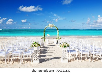 Romantic Wedding setting on the beach and blue sky background