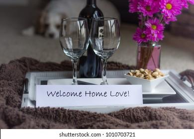 Romantic welcome home indoor picnic