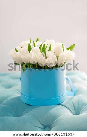 Romantic white flowers round box tulips stock photo edit now romantic white flowers in round box tulips in a turquoise box a lot of mightylinksfo
