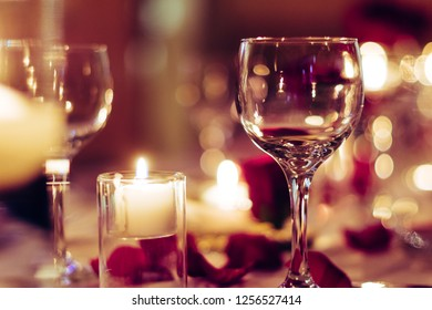 Romantic Wine Glass Dinner Table Valentine's Day with Candles