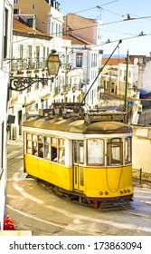 Romantic yellow tramway - main symbol of Lisbon, Portugal