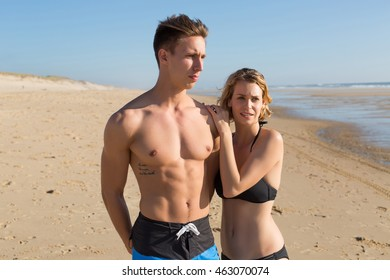 romantic young couple on the beach.Vacation
